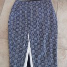 NWOT LTD Navy/White Printed Midi Front Slit Straight Pencil Skirt 2