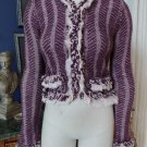 ANTHROPOLGIE HWR Burgandy Fringed Wool Blend Hook Closure Cardigan Sweater S