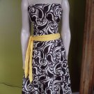ANTHROPOLOGIE TABITHA Strapless Brown/Cream Printed Fit And Flare Sheath Dress 2