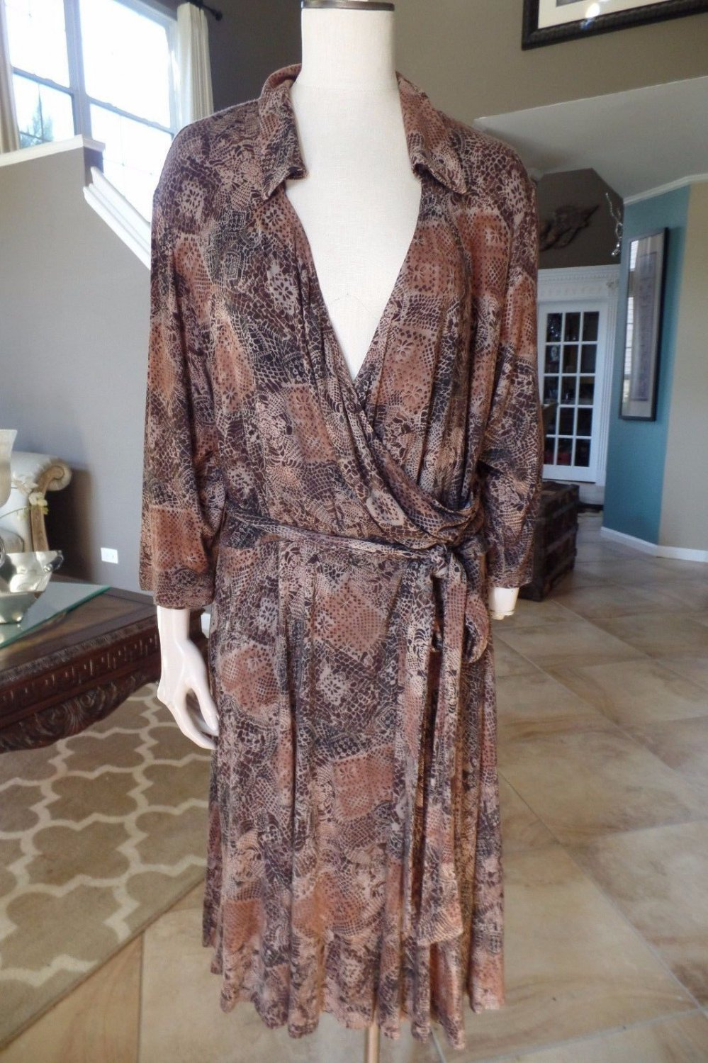 STUDIO 1940 Animal Snake Print Faux Wrap Stretch Sheath Dress 24W