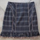 BEBE Brown Plaid Ruffled Lace Hem Pencil Mini Skirt 4