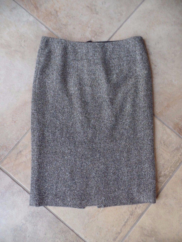 Lafayette 148 Brown Tweed Silk/Wool/Alpaca Straight Pencil Skirt 10
