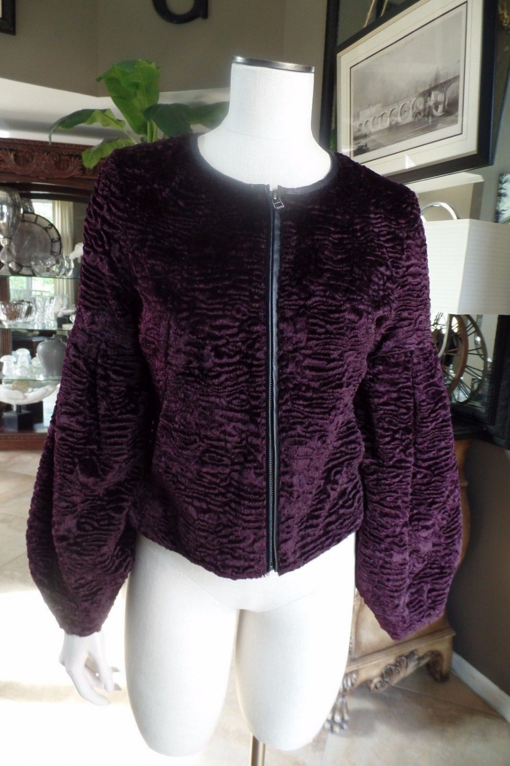 NWOT TROUVE Burgandy Faux Fur Zip Front Puffed Sleeve Blazer Jacket S