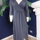 FRESH PRODUCE Slate 3/4 Sleeve V Neck Faux Wrap Dress M Midi