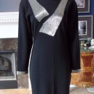 VINTAGE CAROLYNE BARTON Black/Silver Beaded 100% Wool Sweater Sheath Dress S