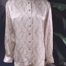 ESCADA Ivory Printed 100% Silk Button Front Long Sleeve Top Shirt Blouse 38