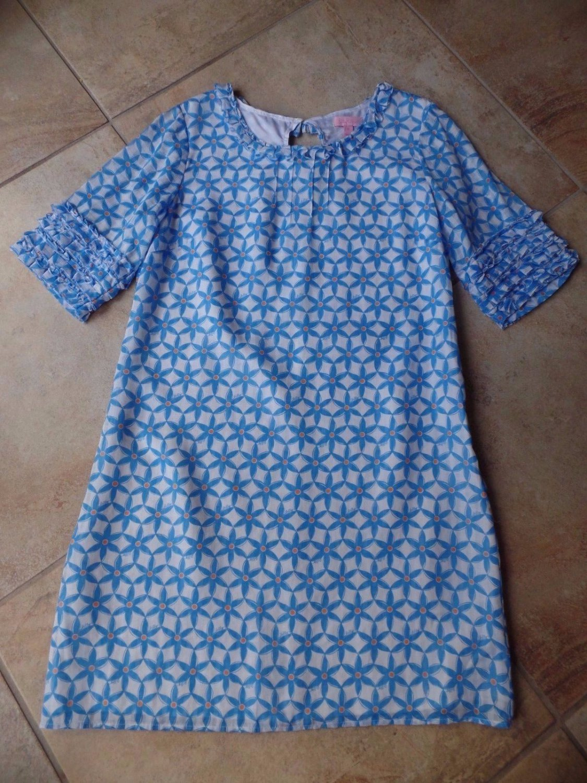 LILLY PULITZER Blue Floral Print  Short SleeveSilk Blend Shift Dress 12
