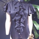 RALPH LAUREN Navy Ruffled 100% Silk Button Front Short Sleeve Top Shirt Blouse 6