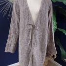 EILEEN FISHER Brown Crinkled Linen/Cotton Jacket 1X
