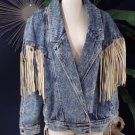 WOMEN'S 80's VINTAGE EAST WEST DENIM JACKET LEATHER TRIM FRINGE L