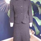 ANN TAYLOR Black Speckled Tweed Blazer and A line Skirt Suit 4P/6
