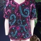 Mark & John By Gopal Vintage Short Sleeve Beaded 100% SilkTop Shirt Blouse XL
