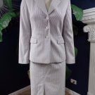 TALBOTS Blue/White Striped Cotton Blend Blazer & Pencil Skirt Suit 4P