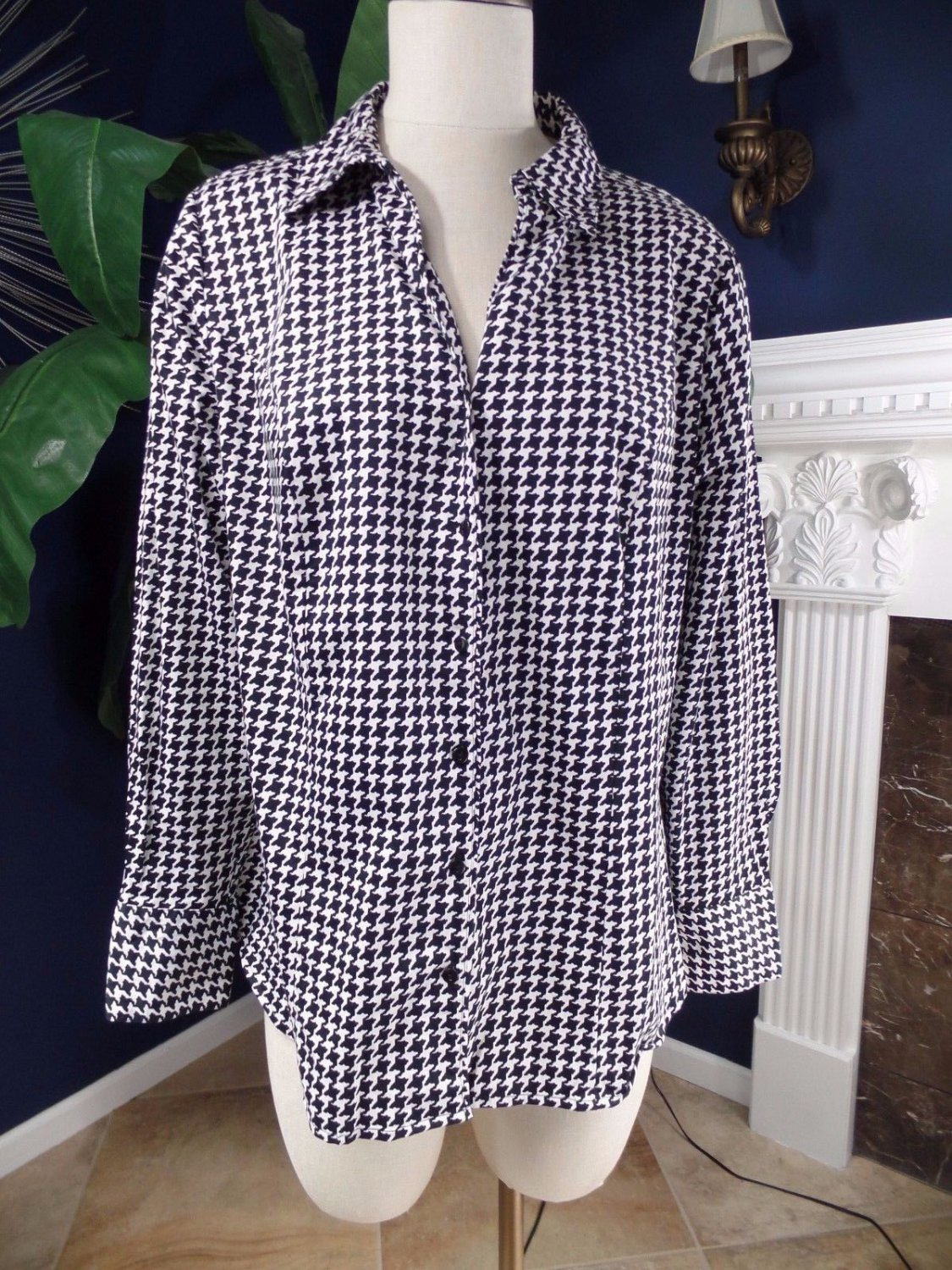 Lane Bryant Black/White Houndstooth Button Front Long Sleeve Blouse Shirt Top 18