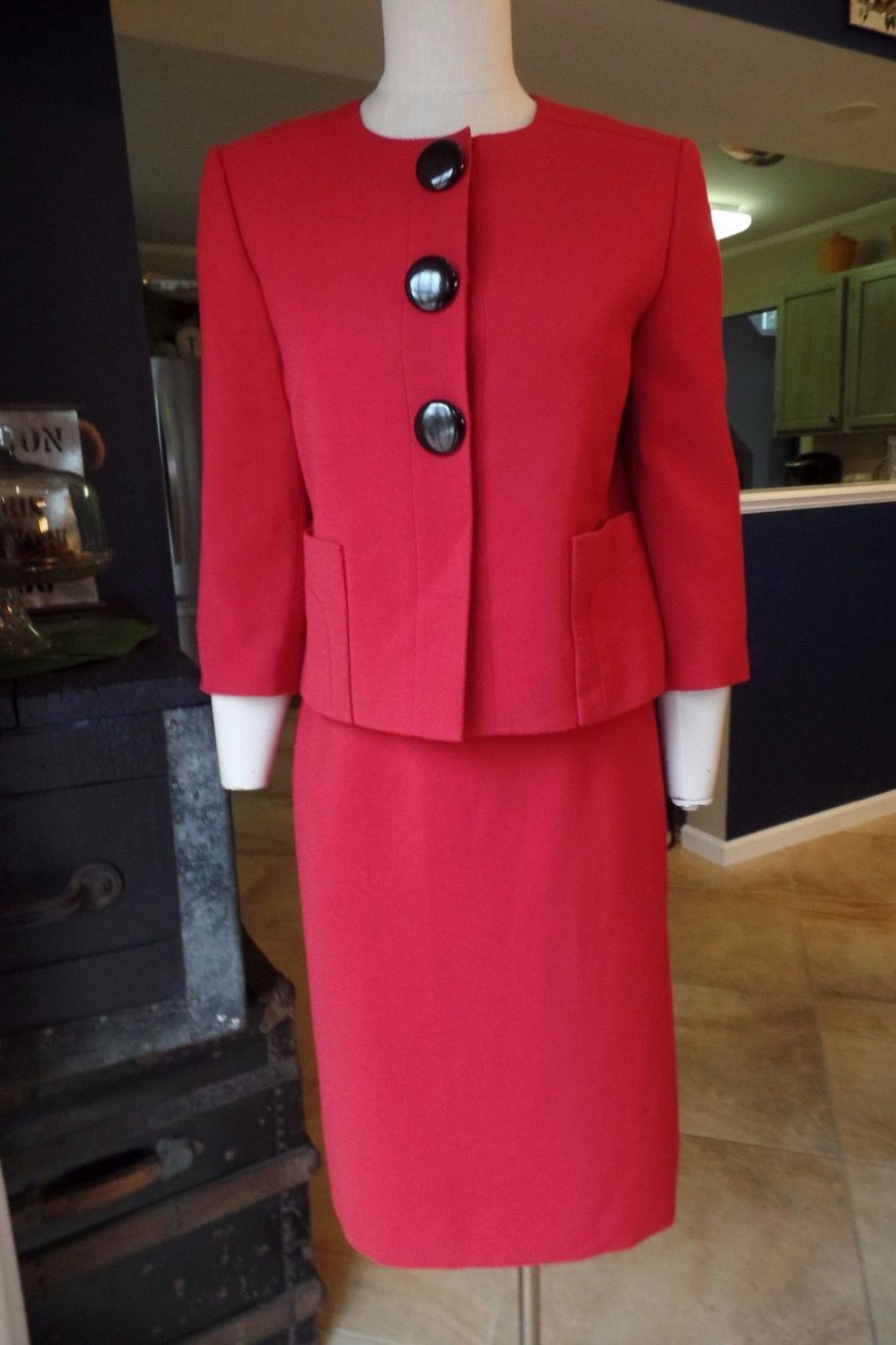 TAHARI Red Ponte Blazer & Belted Pencil Skirt Suit 6