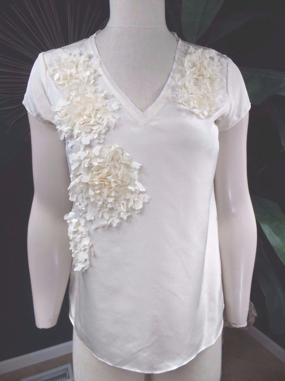 NWT TALBOTS Cream 100% silk Short sleeve 3D Floral Detail Top Shirt Blouse 2
