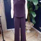Eileen Fisher Plum Silk Blend Cami and  Wide Leg Pants Suit Outfit M