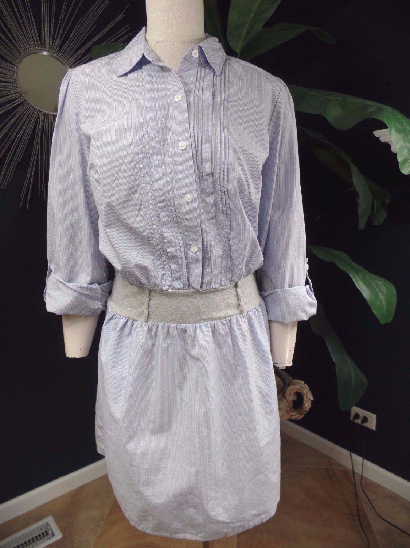 ANN TAYLOR LOFT 100% Cotton Pinstriped Button Front Shirt Dress M