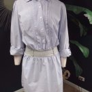 ANN TAYLOR LOFT 100% Cotton Pinstriped Button Front Shirt Dress M