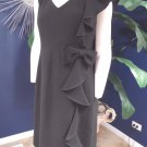 TERI JON Black Crepe Ruffled Front Classic Cocktail/Work Sheath  Dress 14
