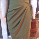 MAX MARA Olive Wool/Cotton Wrap Skirt 6 made in Italy