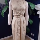 TALBOTS Beige Cotton Blend Button Front Wrap Front Sheath Dress 6 Midi