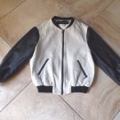 ZARA Faux Leather Linen Tweed Bomber Baseball Zip Front  Jacket Blazer L