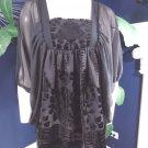 H&M Conscious Collection Black Chiffon/Velvet Kimono Top Shirt Blouse 6