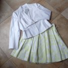 NWT CALVIN KLEIN Belted White Blazer & Printed A Line Skirt Suit 12P