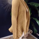 ANTHROPOLGIE Robin Mustard Open Front Wool blend Cable Knit Cardigan Sweater M