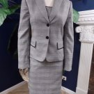 TAHARI Gray Plaid Blazer  Cami And Pencil Skirt  3 Pc Suit 4 Lace Detail