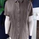 NWT J JILL Brown Button Front short Sleeve 100% Linen Top Blouse shirt M