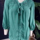 JOIE Green Button Front 100% Silk Tie Front Blouse Top shirt S
