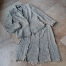 ANNE KLEIN Red Gray Fringed Tweed Blazer And A Line Skirt Suit 10P