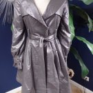 Ryn  Gray Vinyl Fit & Flare Trench Coat Jacket M