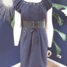 PHOEBE COUTURE Navy crepe Corset Waist Short Sleeve Sheath Dress 4