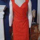 NWT NICOLE MILLER Collection Orange Linen Blend Ruched Sheath  Dress 8
