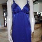 VOOM JOY HAN Blue 100% Silk Mini Shift Dress M