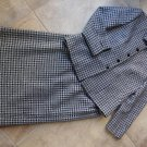 TALBOTS Checked 100% Wool Blazer & Midi Pencil Skirt Suit 12