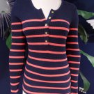 J CREW Navy/Coral Striped Long Sleeve Knit Top Shirt Blouse XS