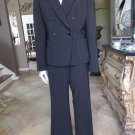 ANNE KLEIN Black With Rust Pinstriped Classic Blazer And Pant Suit 10
