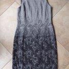 TALBOTS Grey Sleeveless Printed  Wool Blend Sheath Dress L