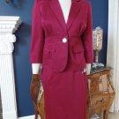 NINE WEST Berry Cotton Blend Peplum Blazer And Pencil Skirt Suit 6P