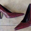 RALPH LAUREN Oxblood Reptile Pointed Toe Classic Plumps   SIZE 10