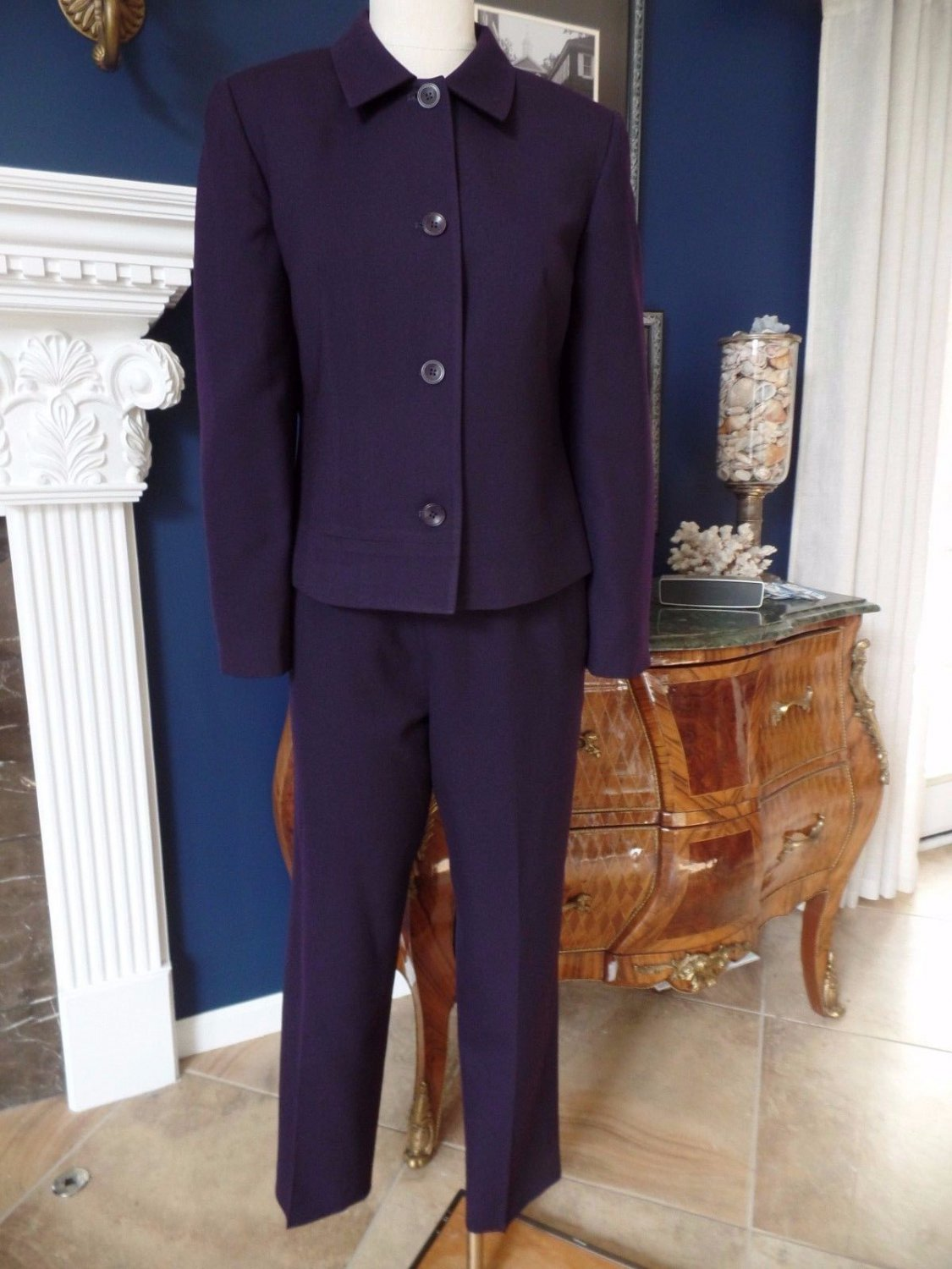 TALBOTS Purple 100% Wool  Blazer and Dress Pant Suit 8/10
