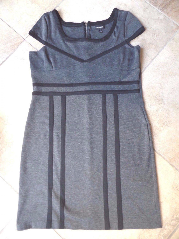 VOIR VOIR Gray Short Sleeve Ponte Sheath  DRESS 14