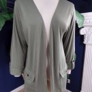 CHICO'S Additions Olive Stretch Knit Open Front  3/4 Sleeve Blazer Jacket 2