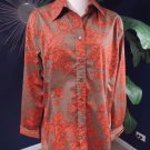 NWT COLDWATER CREEK Tonal floral Shaped Button Front Top Shirt Blouse XL