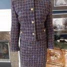 ANN TAYLOR Purple/Green Plaid Tweed Box Fit Blazer and Pencil Skirt Suit 6