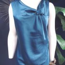 ANN TAYLOR Teal Satin Knotted Neck Line SleevelessTop Shirt Blouse M